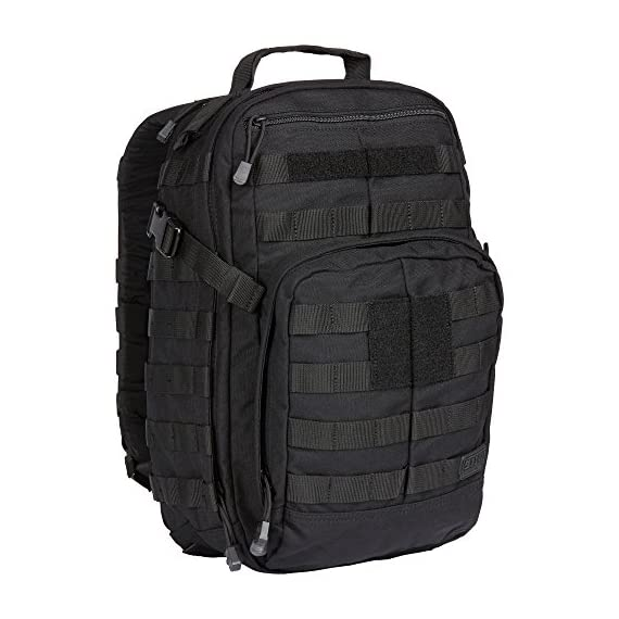 5.11 Tactical Military Backpack - RUSH12 - Molle Bag Rucksack Pack, 24 Liter Small, Style 56892 4 Military backpack features 16 individual compartments, MOLLE ready with roomy main storage area and hydration pocket. Adjustable height sternum strap, two external compression straps and contoured yoke shoulder strap system. The 5.11 RUSH12 Bug out Rucksack is a water-resistant backpack made with durable 1050D nylon (Multicar: 1000D nylon) and self-repairing YKK zippers. This military style tactical pack is built to last. Molle bag features wrap-around molle/5. 11 slick stick web platform, internal multi-slot admin compartment and zippered fleece-lined eyewear pocket. Compatible with 5.11's TIER system and the Rush Tier Rifle Sleeve.