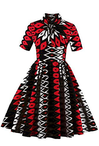 Runcati Womens African Dress Maxi Dashiki Print Fit and Flare Half Sleeve Expansion 2 Pcs Skirt with Pockets