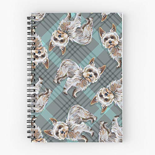 Pattern Yorkshire Plaid Dog Patterns Patterned Yorkie Terrier Cute Cute School Five Star Spiral Notebook With Durable Print