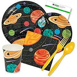 Party Tableware Today Space Party Supplies Pack for 16 Guests Includes Plates, Napkins, Cups, and Plastic Cutlery by