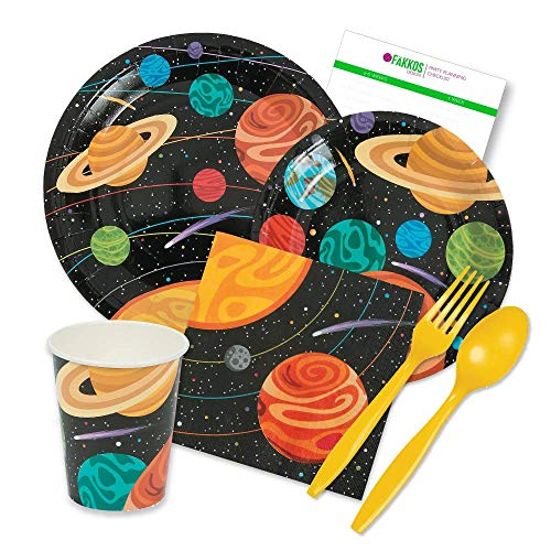 Party Tableware Today Space Party Supplies Pack for 16 Guests Includes Plates, Napkins, Cups, and Plastic Cutlery -