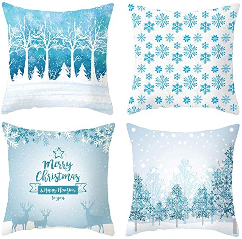 VANCORE Christmas Pillow Case 4 Pack Blue Decorative Cushion Cover 18