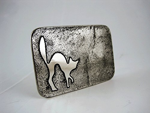 Scaredy Cat Belt Buckle - Etched Stainless Steel - Handmade