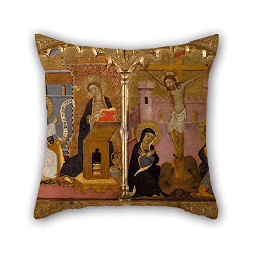 Oil Painting Francesc Comes - Saint John The Baptist, Annunciation, Crucifixion And Saint Catherine Of Alexandria Pillowcover 16 X 16 Inches / 40 By 40 Cm For Girls Birthday Shop Couch Boy Friend (Alexandria Flower Shops La)