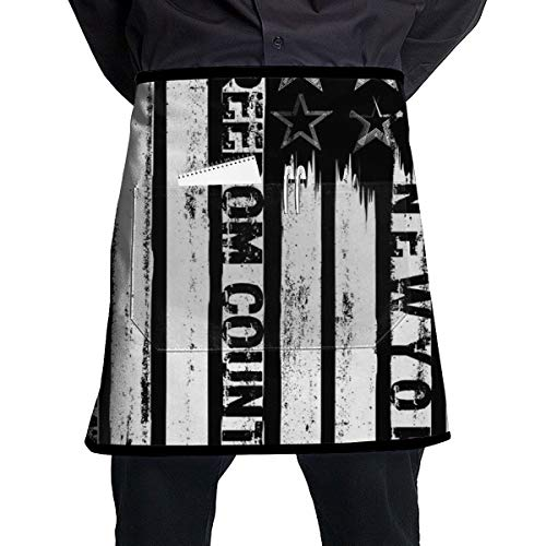 On The Theme In New York City Freedom Stylized Half Home Kitchen Apron Teachers, Waitress,waiter Or Server,apron 1 Pockets,Black Half Apron,kitchen Cooking,crafts,and Restaurants See All Waist Black -