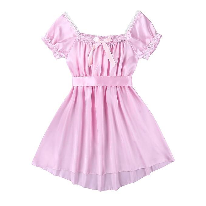 046f81e38103d Agoky Mens Crossdressing Lingerie Fancy Dress Gay Nightwear Satin ...