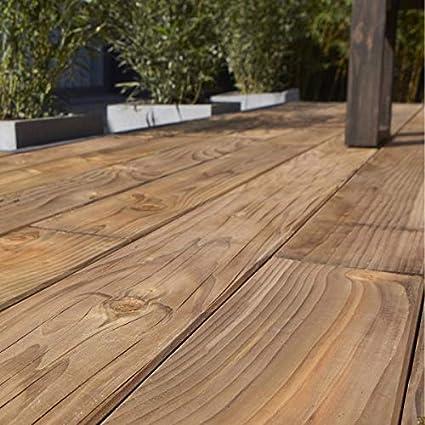 /Épaisseur/: 19 mm marron Lames de terrasse BioMaderas En teck Largeur/: 50/mm