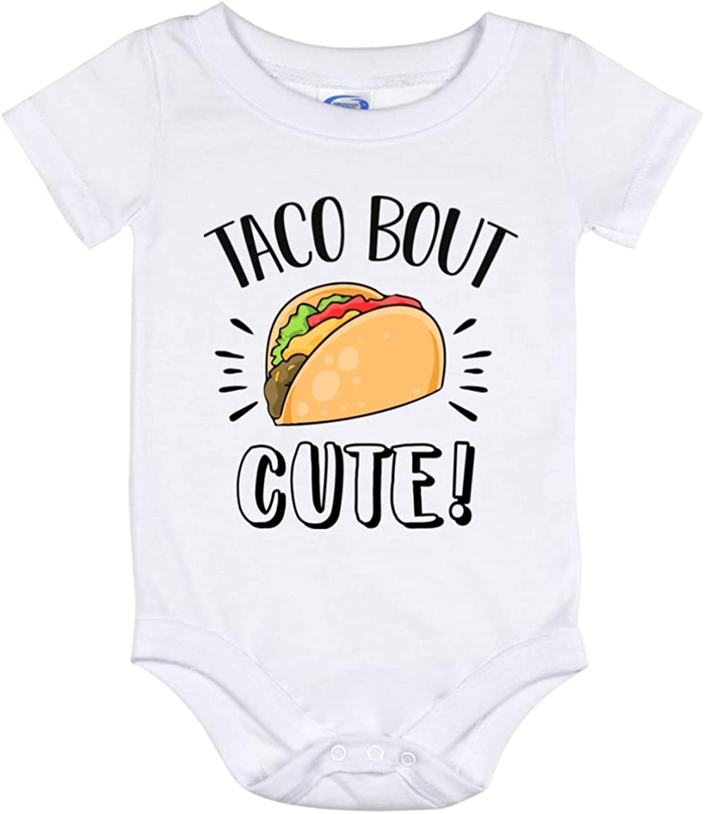 DST Apparel Co Taco Bout Cute Baby Bodysuit, Talk Bout Cute Toddler Outfit, Mexican Food Pun Infant Newborn Jumpsuit