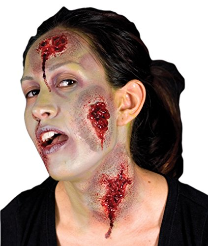Special Effects Makeup Halloween (Woochie by Cinema Secrets Oozing Wounds 3 Piece Latex Appliance, Multi, One Size)