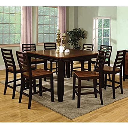 Bannock Acacia U0026 Espresso Finish 9 Piece Counter Height Dining Set