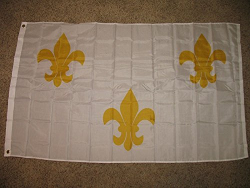 (3X5 White 3 Fleur De Lis New Orleans French Flag 3'X5' House Banner )