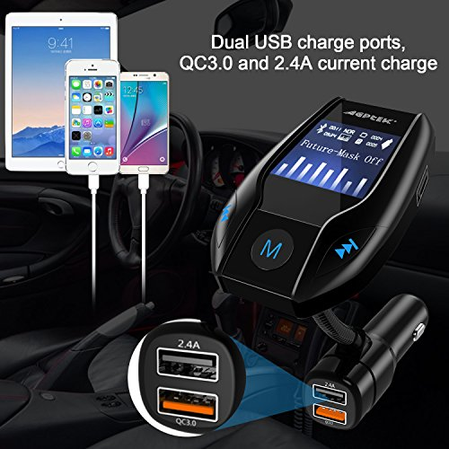 Bluetooth FM Transmitter for Car with Quick Charge 3.0 Wireless In-Car Radio Transmitter Adapter Support AUX Input/TF Card/USB Flash Drive/Hands-Free Calling by MYPIN (Image #6)