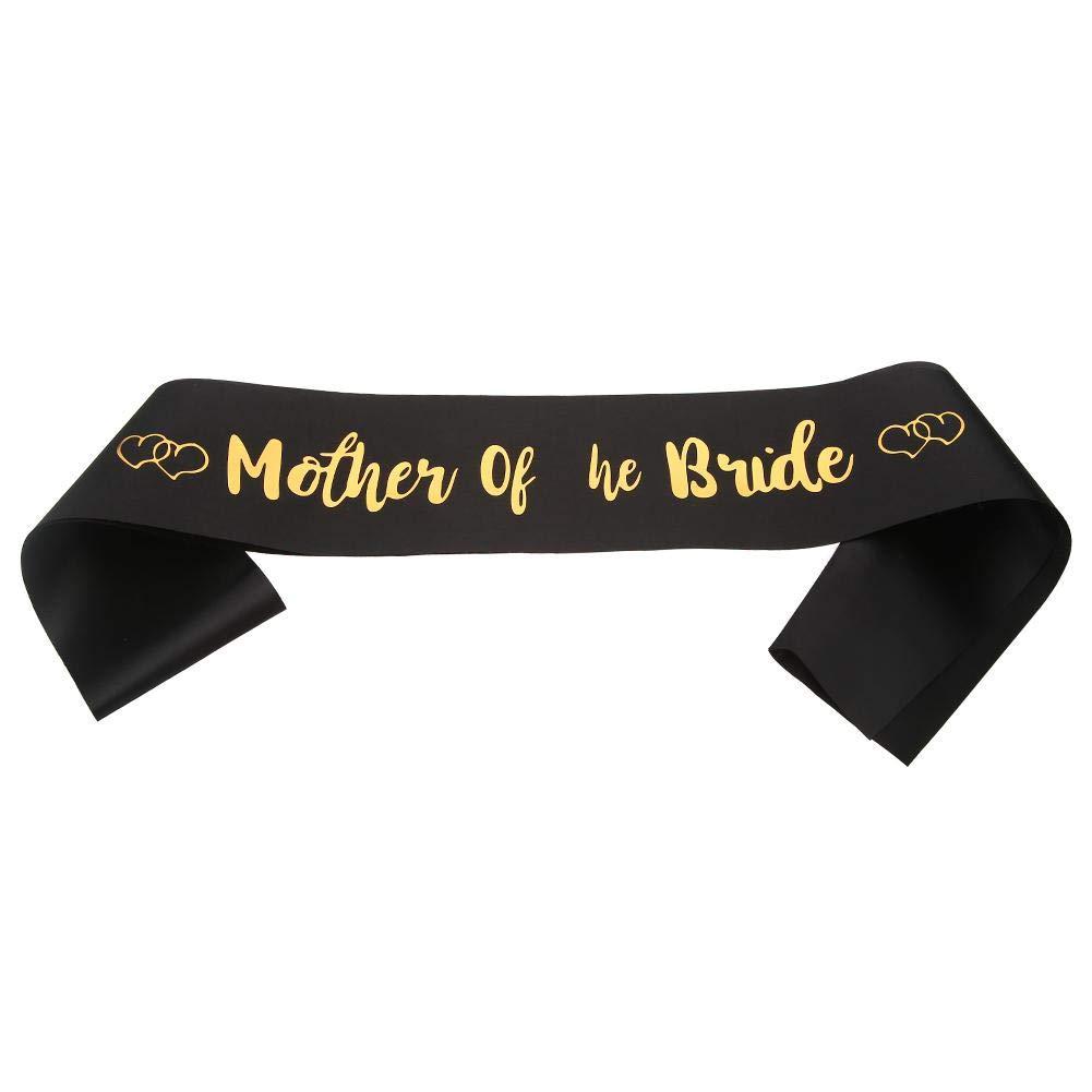 WinnerEco Party Shoulder Strap, Satin Mother The Bride Sash Wedding Mother Shower Shoulder Strap (Black) by WinnerEco (Image #1)