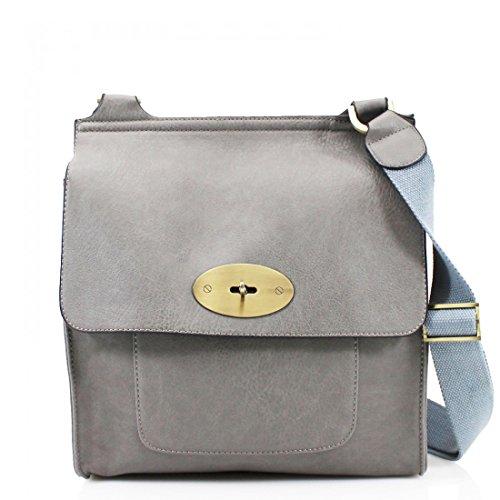 Women Grey Shoulder Leather Satchel Strap Messenger Strap Women's Ladies new Handbag London Cross PU Shoulder bags Adjustable Long Bag Bag Craze Long Body Messenger ZqgXxfwPH