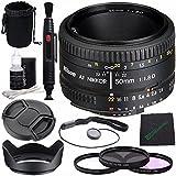 Nikon AF NIKKOR 50mm f/1.8D Lens + 52mm 3 Piece Filter Set (UV, CPL, FL) + Lens Cap + Lens Hood + Lens Cleaning Pen + Microfiber Cleaning Cloth + Lens Cap Keeper Bundle