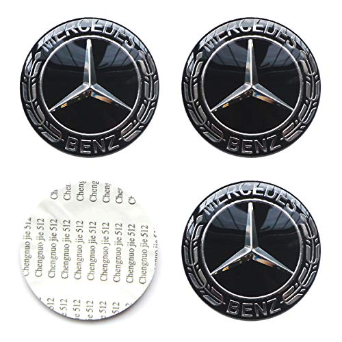 MonboAuto 4PCS 2.56'' 65MM Emblem Badge Sticker Wheel Hub Caps Centre Cover fit for Mercedes-Benz