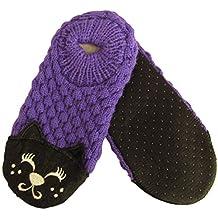 J.ann-Little Boy's & Girls Cat Face Knitted Slipper Sock, Bottom Size: (15-16cm)