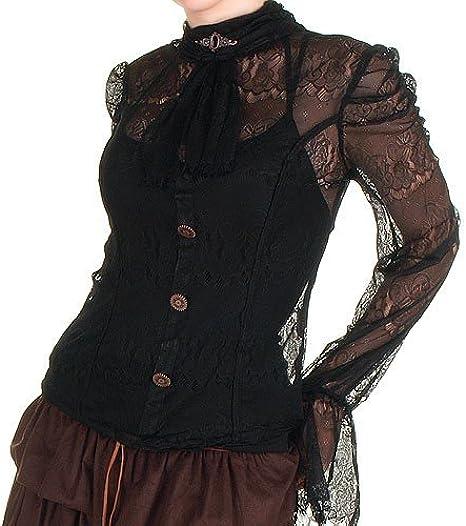 Camisa de Encaje Negra con Chorreras - Tallas - L: Amazon.es: Ropa y accesorios