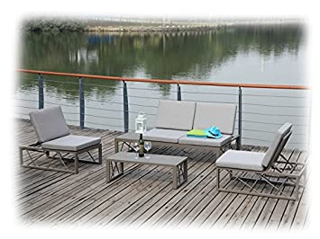 AVA Gartenmöbel Lounge Gartenset 9 Teilig Zebra Taupe U0026 Grau