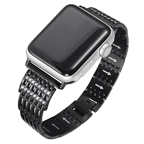Apple Watch Band 38mm 42mm for Women and Men Bling Jewelry Stainless Steel Replacement Apple Watch Strap for Series 3, Series 2, Series 1, Sport, Nike+ Edition, 4 Colors Available