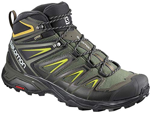 - Salomon Men's X Ultra 3 Mid GTX Waterproof Hiking Boots, Castor Gray/Black/Green Sulpher, 14D (Medium)