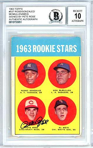 - Pete Rose Autographed 1963 Topps Rookie Card #537 Cincinnati Reds Gem Mint 10 Beckett BAS #10733851