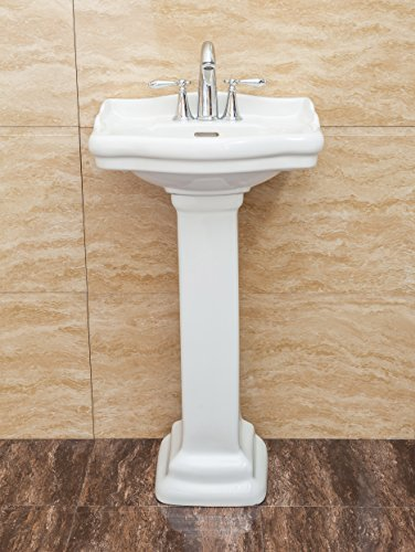 Fine Fixtures, Roosevelt White Pedestal Sink - Vitreous China Ceramic Material (4 Inch Faucet Spread - Small Sink Pedestal