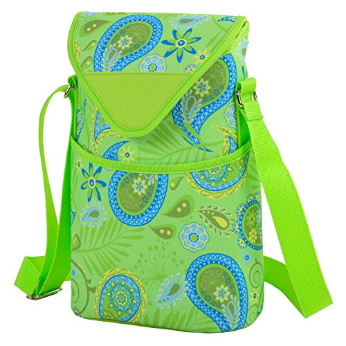Picnic at Ascot Insulated Wine/Water Bottle Tote with Shoulder Strap -  Paisley Green - Bag Park Bottle Paisley