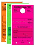 TEMPORARY PARKING PERMIT - Mirror Hang Tags, Numbered with Tear-Off Stub, 7-3/4 x 4-1/4, Bright Fluorescent Pink,Green and Orange, 50 Per Pack - Triple-Pack (150 Tags)