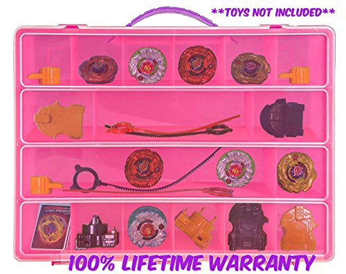 Life Made Better Toy Storage Organizer - Compatible With BeyBlades - Durable Carrying Case- Pink (Strike Starter Lightning)