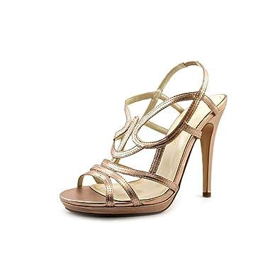 Caparros Macarena Open Toe Synthetic Platform Heel Peach Metallic Size 10.0