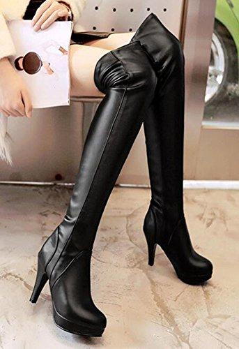 Chfso Womens Trendy Stiletto Solide Bout Rond Talon Haut Plate-forme Au-dessus Du Genou Pull Bottes Noires