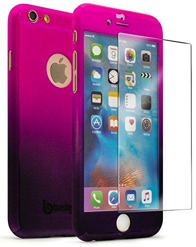 Bastex iPhone 6 / 6s 4.7 Case with Tempered Glass Screen Protector, Full Body Slim Fit Fade Pink to Purple Ultra Thin Light Weight Hard Snap-On Case for Apple iPhone 6 4.7, iPhone 6s 4.7