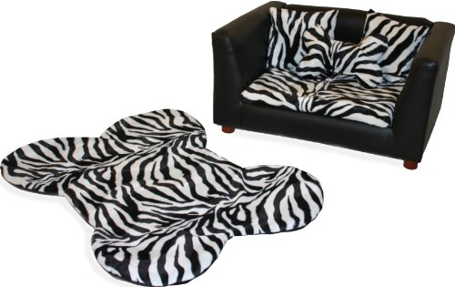 Keet Deluxe Orthopedic Memory Foam Dog Bed Set, Small, Zebra
