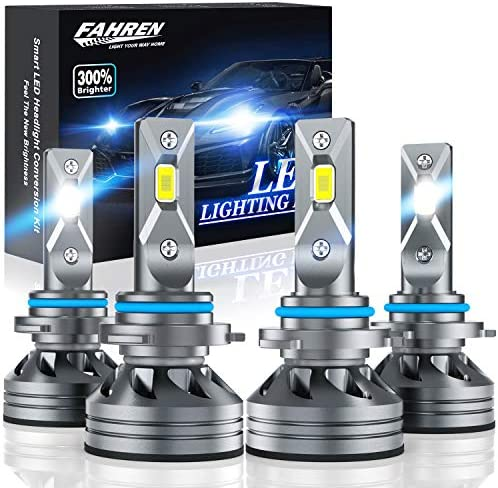 Fahren 9005/HB3 High Beam 9006/HB4 Low Beam LED Headlight Bulbs Combo, 20000 Lumens Super Bright LED Headlights Conversion Kits 6500K Cool White, Pack of four