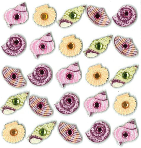 Jolee's Boutique Dimensional Stickers, Sea Shells (Glitter Seashells)