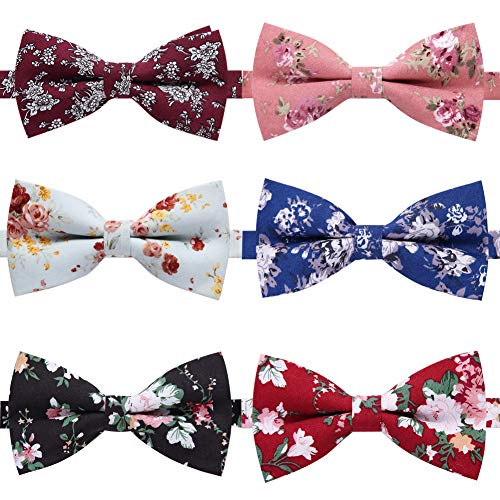 AUSKY 6 PACKS Elegant Adjustable Pre-tied Printed Floral bow ties for Men Boys in -