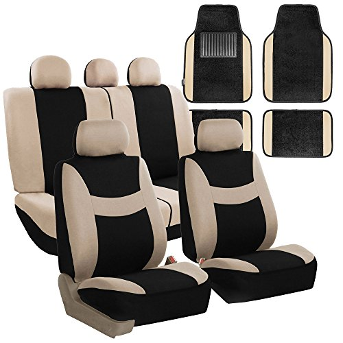FH GROUP FH-FB030115 Light & Breezy Cloth Seat Cover Set Airbag & Split Ready with Premium Carpet Floor Mats Beige / Black- Fit Most Car, Truck, Suv, or Van