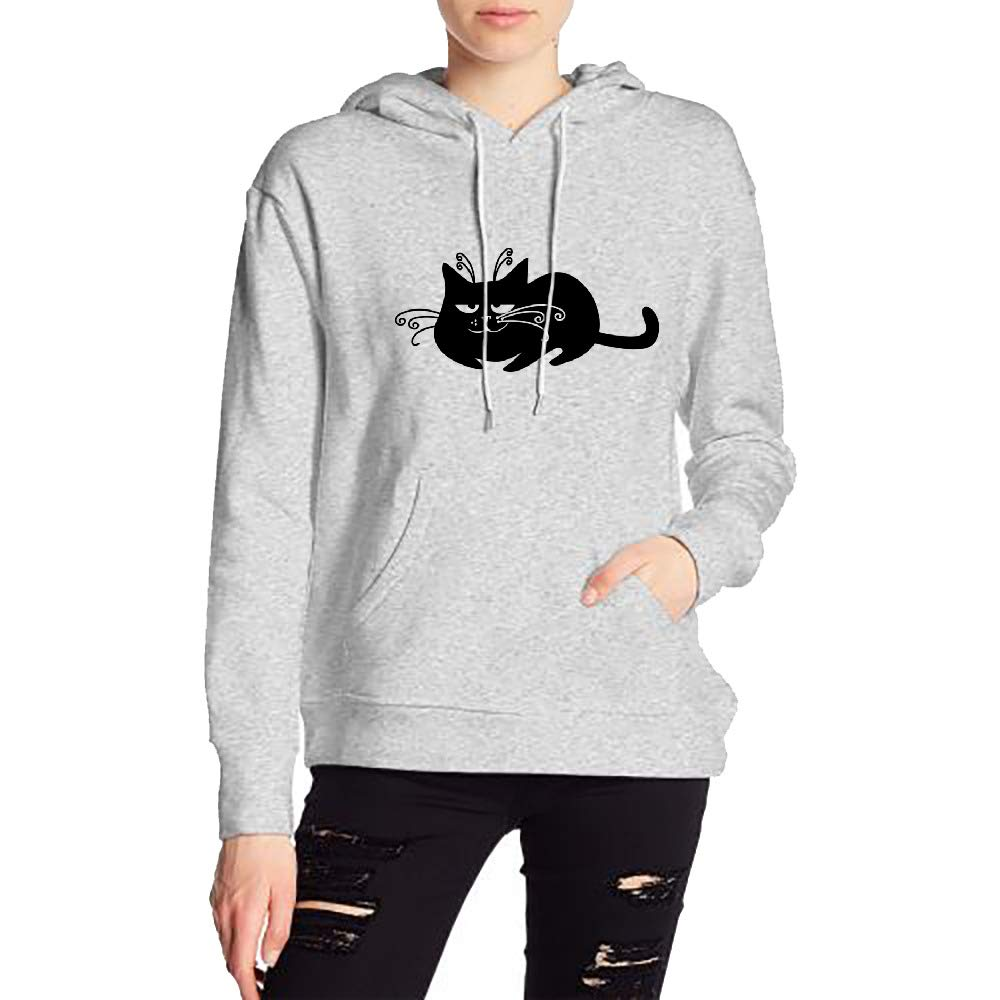 Womans Sleepy Black Cat Sweater Sports Drawstring Hooded