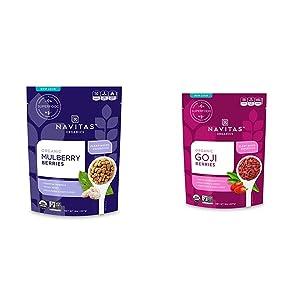 NAVITAS MULBERRIES ORG 8OZ & Navitas Organics Goji Berries, 8oz. Bag — Organic, Non-GMO, Sun-Dried, Sulfite-Free