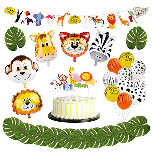 Animal Decorations Safari Party Supplies - FengRise Jungle Theme Party Supplies Safari Party Decorations Pack of 29, Jumbo Animal Head Balloons Latex Print Balloon and Safari Banner for Birthday Party]()