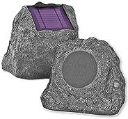 Innovative Technology Outdoor Rock Speaker Pair - Wireless Bluetooth Speakers for Garden, Patio, Waterproof, B