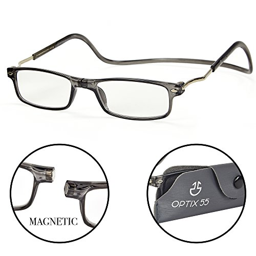 Magnetic Reading Glasses - Front Connect Adjustable Readers with Expandable Temples, Prescription Lenses and Protective Pouch - Shiny Gray -+250 - by Optix 55
