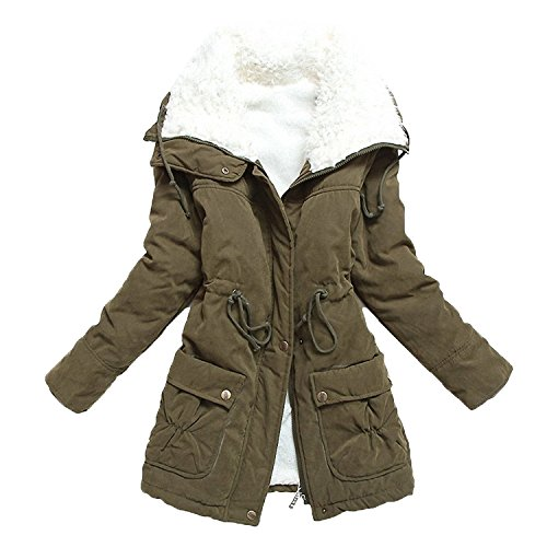 Aro Lora Women's Winter Warm Faux Lamb Wool Coat Parka Cotton Outwear Jacket with Pocket US Medium Army Green