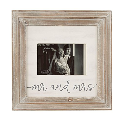 Mud Pie Wedding Collection Mr and Mrs Photo Frame, Small, Holds 4\