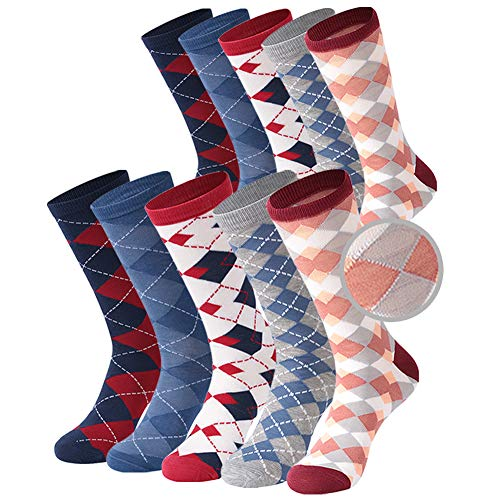 Argyle Dress Socks, Crazy Eleven Men Dress Socks Fun Red Blue Gray Navy Diamond Jacquard Nordic Patterned Long Tube Crew Business Colorful Casual Boot Socks,Wedding Groomsmen Gifts Socks 10 Pairs