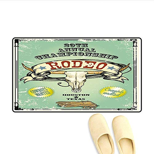 Door-mat Retro Style Rodeo Championship Poster Bull Skull Large Horns with Banner Grungy Bathroom Mat for Tub Non Slip Multicolor 16