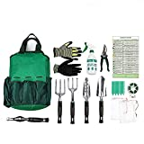 Gardening Tools Set,Garden Hand Tools,Gardening gifts,13 Piece Garden Kit Includes 6 Hand Tools ,Durable Storage Bag, Sprayer Bottle,Garden Gloves ,Seeds Bag,Plant Labels,Garden Tie By Ayuboom