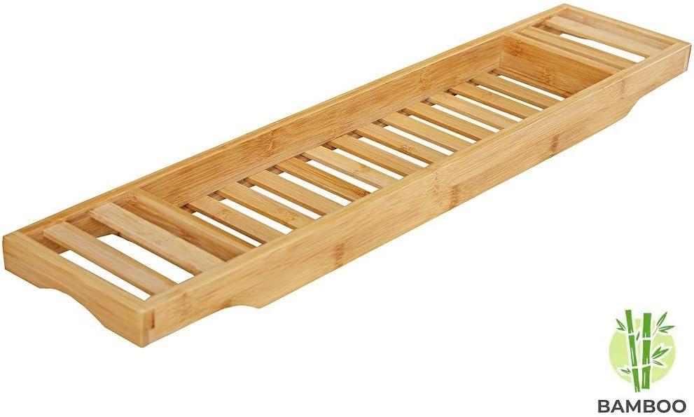Badplank//badbrug geschikt voor telefoon Basic Bad tafeltje Van hout 70 cm lang Decopatent Bamboe badrekje voor Over Bad