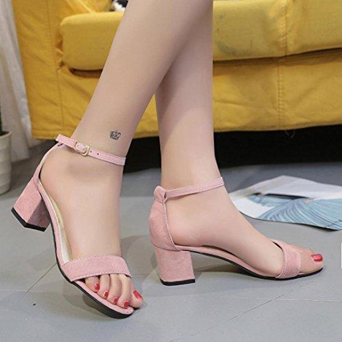 Baotou UOMOGO BestSeller Heel High 5 Donne Grassetto Cm cm Sandali Con Rosa Fibbia 5 Elegante Sandali ღ In 5 7 Punta Scanalata E ap7dy6O